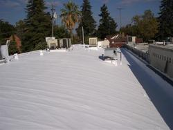 Fluid applied reinforced roof system after